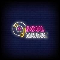 vetor de sinais de néon de música soul
