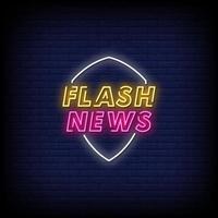 notícias flash vetor de texto de estilo de sinais de néon