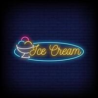 Vetor de texto de estilo de sinais de néon de sorvete