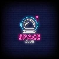 vetor de texto de estilo de sinais de néon do clube espacial