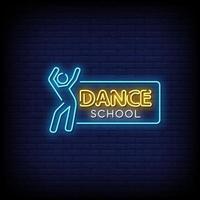 Vetor de texto de estilo de sinais de néon de escola de dança
