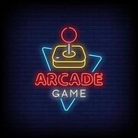 vetor de sinais de néon de jogo de arcade