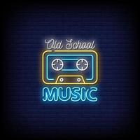 vetor de sinais de néon de música da velha escola