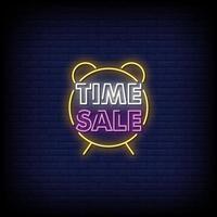 vetor de texto de estilo de sinais de néon de venda de tempo