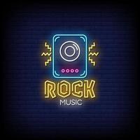 vetor de texto de estilo de sinais de néon de música rock