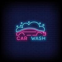 Vetor de texto de estilo de sinais de néon de lavagem de carro