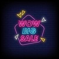 Uau, grande venda, sinais de néon, estilo, vetor de texto
