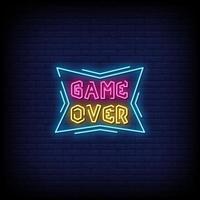 jogo sobre vetor de texto de estilo de sinais de néon