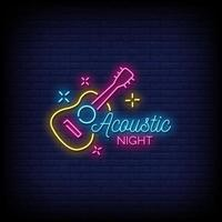 Vetor de texto de estilo de sinais de néon de noite acústica