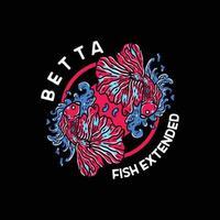 ilustração vintage peixe betta para camiseta vetor