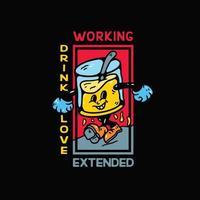 beber personagem ilustração vintage para camiseta vetor