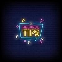 dicas úteis vetor de texto de estilo de sinais de néon