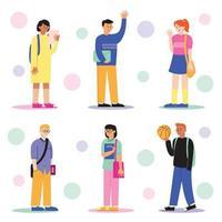 conjunto de personagens de alunos vetor