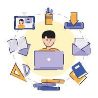 conjunto de ícones de escolas online vetor