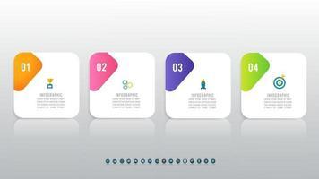 infográfico de quatro etapas com ícones vetor