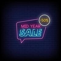 Vetor de texto de estilo de sinais de néon de venda do meio do ano