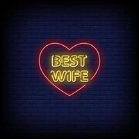 melhor esposa vetor de texto de estilo de sinais de néon