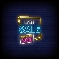 vetor de texto de estilo de sinais de néon da última venda