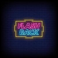 flash back sinais de néon estilo texto vetor