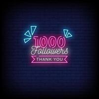 obrigado 1000 seguidores vetor de texto de estilo de sinais de néon