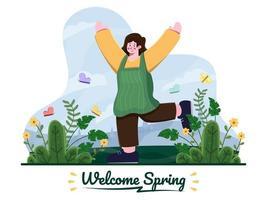 ilustração plana de mulheres aproveitando a primavera no parque com flores e borboletas. bem-vindo o conceito de temporadas de primavera. feliz primavera com ilustração de mulher bonita. adequado para cartão postal, cartão postal, banner, panfleto, cartaz, web, apresentação. vetor