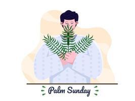 feliz palm domingo com povo pastor cristão trazendo folhas de cruz e palmeira. feriado cristão de domingo de palma. adequado para cartão de felicitações, convite, banner, panfleto, cartaz. vetor