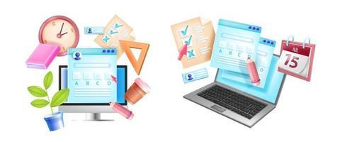 exame online, teste de internet conceito de e-learning vetor