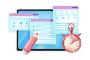exame de internet online, ilustração vetorial web educação enquete vetor