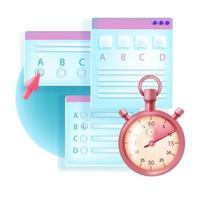 exame online, teste da web, vetor conceito de pesquisa de educação na Internet
