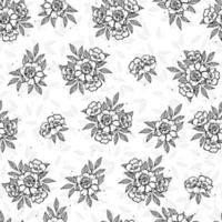 sem costura doodle arte flor e folha isolada no fundo branco. flor de peônia ilustração desenhada mão. vetor