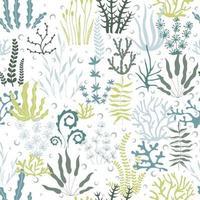 mar sem costura de algas e bolhas. mão desenhada algas e bolha coleção perfeita. ilustração marinha. ideal para tecido, papel de parede, papel de embrulho, têxtil, roupa de cama, impressão de t-shirt. vetor