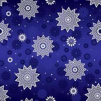 padrão de inverno sem costura com flocos de neve brancos sobre fundo azul. vetor