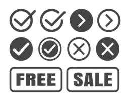 conjunto de ícones de marca de seleção. símbolo certo e errado. vetor