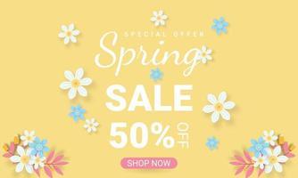 fundo de venda de primavera com modelo de lindas flores coloridas vetor