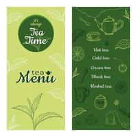 ilustrações de esboço desenhado de mão de chá. menu ou modelo de design do folheto. vetor