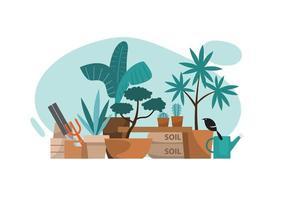 canto da planta com equipamento de jardinagem, ilustração vetorial vetor