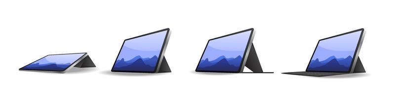 coleção de tablet com diferentes estilos de caixa ou capa isolada no fundo branco, ilustração vetorial vetor