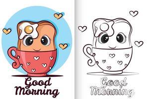 pão fofo com ovo na xícara. livro de colorir para crianças pré-escolares. vetor