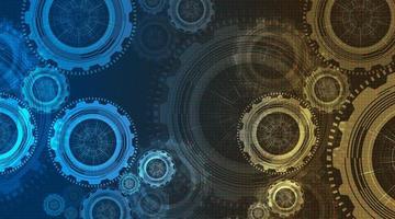 roda de engrenagens de tecnologia digital moderna e relógio com fundo de linha de circuito. vetor