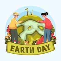 conceito do dia da terra com estilo orgânico vetor