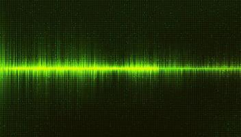 fundo de onda sonora digital verde, música e conceito de diagrama de alta tecnologia vetor