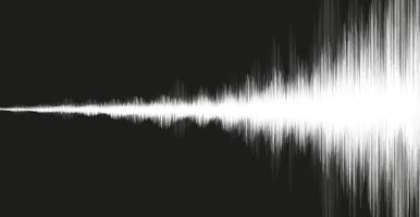 onda de terremoto branca em fundo preto, conceito de diagrama de onda de áudio vetor