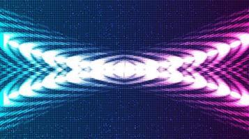 conceito abstrato de onda sonora digital violeta e azul e onda de terremoto vetor
