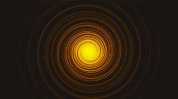 buraco negro de espiral de luz dourada no fundo da galáxia negra. planeta e projeto de conceito de física vetor