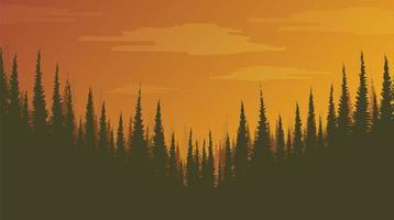 floresta de pinheiros nebulosa, plano de fundo da paisagem, luz do sol e conceito do nascer do sol vetor