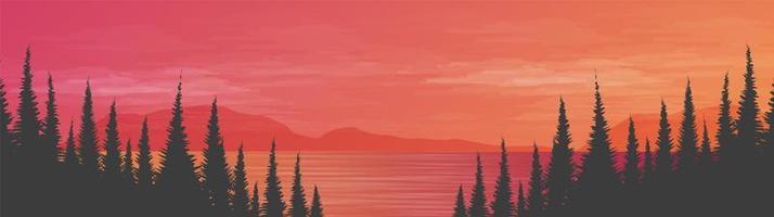 panorama lindo mar no fundo da paisagem, sol e pôr do sol conceito de design vetor