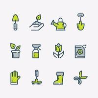 conjunto de ícone de flor de jardim simples vetor