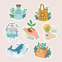 conjunto de adesivo de ecologia com slogan vetor