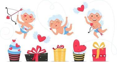 Valentine Cupido ama anjos brincalhões. menino ou menina Cupido com caixa de presente. vetor
