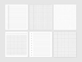 documento de folha de papel de caderno. conjunto gráfico de folhas de papel em branco para representação de dados. vetor